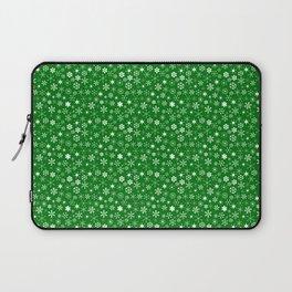 Evergreen Green & White Christmas Snowflakes Laptop Sleeve