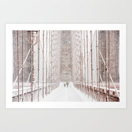 Brooklyn Bridge Snow Art Print