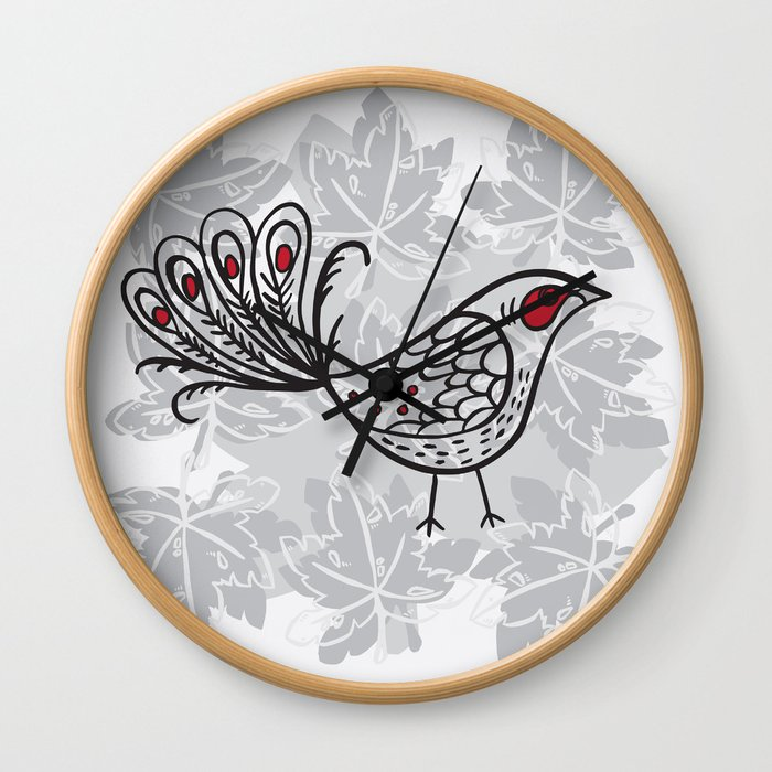lyrebird white Wall Clock