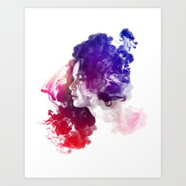 Jennifer Lawrence Watercolor Psychedelic Portrait Pepe Psyche Art Print
