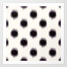 Ikat Dots Black and White Art Print