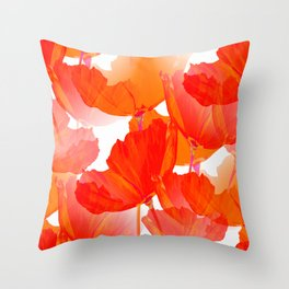Red Poppies On A White Background #decor #society6 #buyart Throw Pillow
