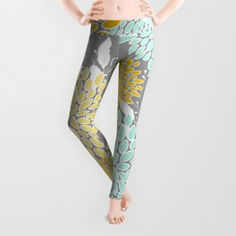 Floral Prints and Leaves, Gray, Yellow and Aqua Leggings