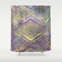 Tribal  Ethnic Boho Pattern gold and gentle purples Shower Curtain