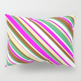 Eye-catching Sea Green, White, Fuchsia, Pale Goldenrod, and Brown Colored Lined/Striped Pattern Pillow Sham