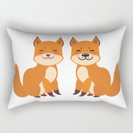 cute fox, boy and girl with funny face and fluffy tails on white background Rectangular Pillow