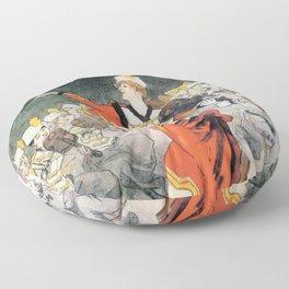vintage travel poster Musee Grevin Grand Orchestre Jos Heisler Jules Cheret 1888 Floor Pillow