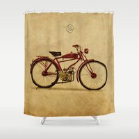 ducati Shower Curtains featuring Ducati 1950 - Classic bike by Larsson Stevensem