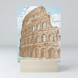 colosseum color hand draw background Mini Art Print