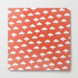 Precipitation Red Metal Print