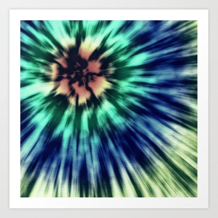 Blue And Green Tie Dye Art Print