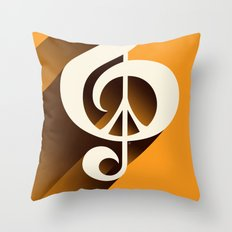 Retro Shadow Music & Peace, Orange Throw Pillow