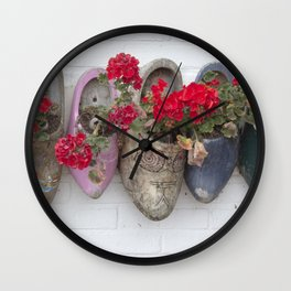 Dutch wooden shoes and geraniums from Marken, Holland Wall Clock