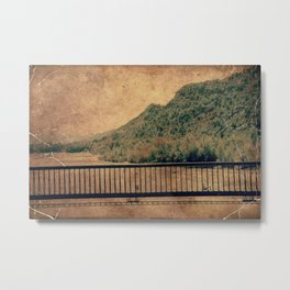 Vintage river landscape and mountains Metal Print