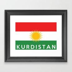 Kurdistan country flag name text Framed Art Print