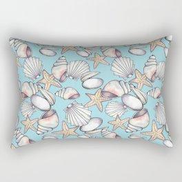 Watercolor Seashells Pattern w-Aqua Background Rectangular Pillow