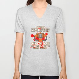 This is the awesome revolutionary Tshirt Those who make peaceful revolution Change the world & fight Unisex V-Neck
