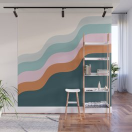 Abstract Diagonal Waves in Teal, Terracotta, and Pink Wall Mural