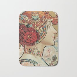 Lady With Flowers - Alphonse Mucha Bath Mat