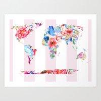 Floral World - Pink Stripe Art Print