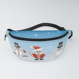 Cute Snowmen with Ornaments, Candy Cane and Strand of Lights Fanny Pack