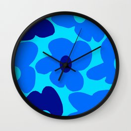 Blue Retro Flowers Pastel Blue Background #decor #society6 #buyart Wall Clock