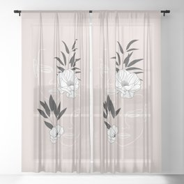 Two Faces Floral Sheer Curtain