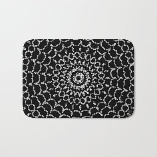 Mandala Fractal in Black and White Bath Mat