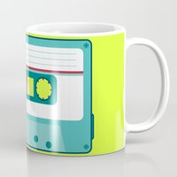 cassette Mugs featuring #54 Cassette by Brownjames Prints