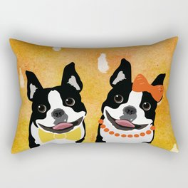 Boston Terriers Watercolor Rectangular Pillow