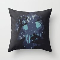 kodama Throw Pillows featuring kodama Spirit by Robson Borges