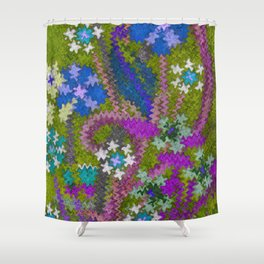 Starry Floral Felted Wool, Moss Green and Violet Shower Curtain
