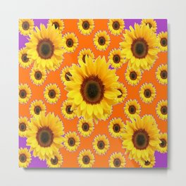 Purple-Orange Patterns Yellow Sunflowers Abstract Art Metal Print
