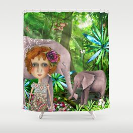 Jungle of happiness watercolour Shower Curtain