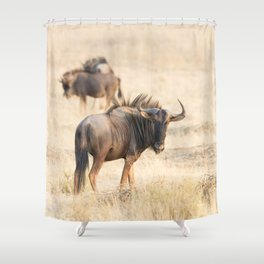 Group of wildebeest Shower Curtain