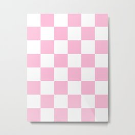 Large Checkered - White and Cotton Candy Pink Metal Print