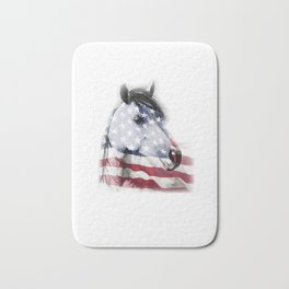 Patriotic Horse Head Horse Lover Independence Day Bath Mat