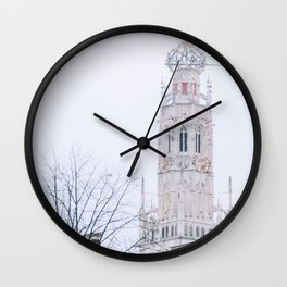 Iconic Church tower of Haarlem in winter | Haarlem historical city, the Netherlands | Urban travel photography Wall Clock