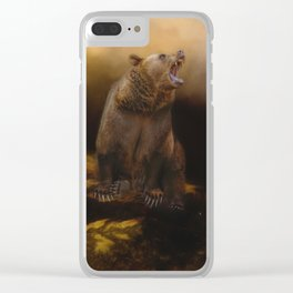 Roaring grizzly bear Clear iPhone Case