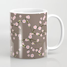 Pink Cherry Blossom Branches on Taupe Coffee Mug