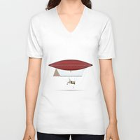 hot air balloon V-neck T-shirts featuring vintage hot air balloon by the lazy pigeon
