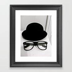 Nerd Glasses and Hat Framed Art Print