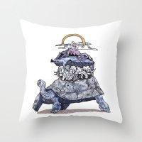 discworld Throw Pillows featuring The discworld by Aya Rosen
