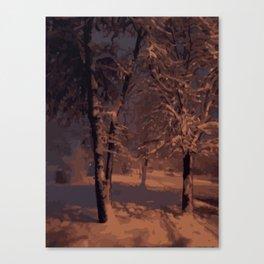 Snowy tree-warm colors Canvas Print