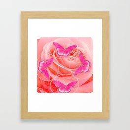 REDDISH PINK ROSES & PURPLE-PINK  BUTTERFLIES MODERN ART Framed Art Print