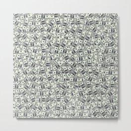 Giant money background 100 dollar bills / 3D render of thousands of 100 dollar bills Metal Print