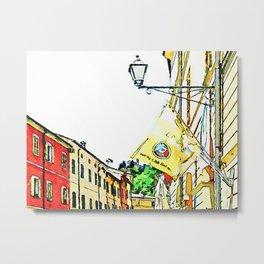 Brisighella: glimpse with lamppost and flag Metal Print