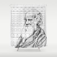 darwin Shower Curtains featuring C.DARWIN by Noelle Fontaine