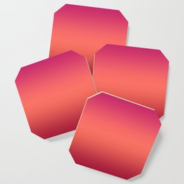 Living Coral Pink Peacock Jester Red Gradient Ombre Pattern Coaster