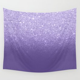 Modern ultra violet faux glitter ombre purple color block Wall Tapestry